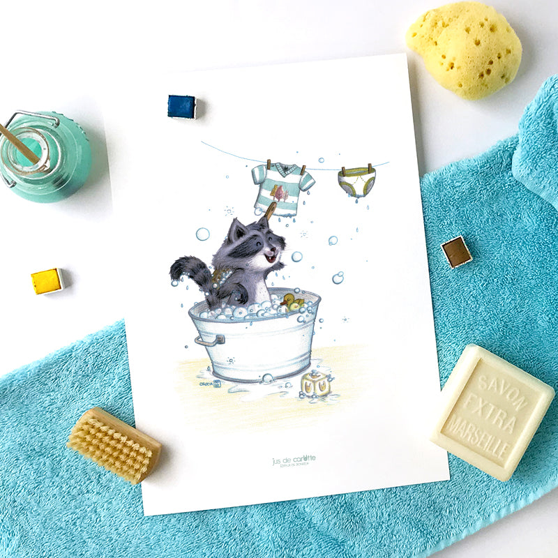 "Illustration A4 ""Le raton laveur"" - Design et fabrication Caroline CROCHET (CroCa) - Jus de carotte éditions"