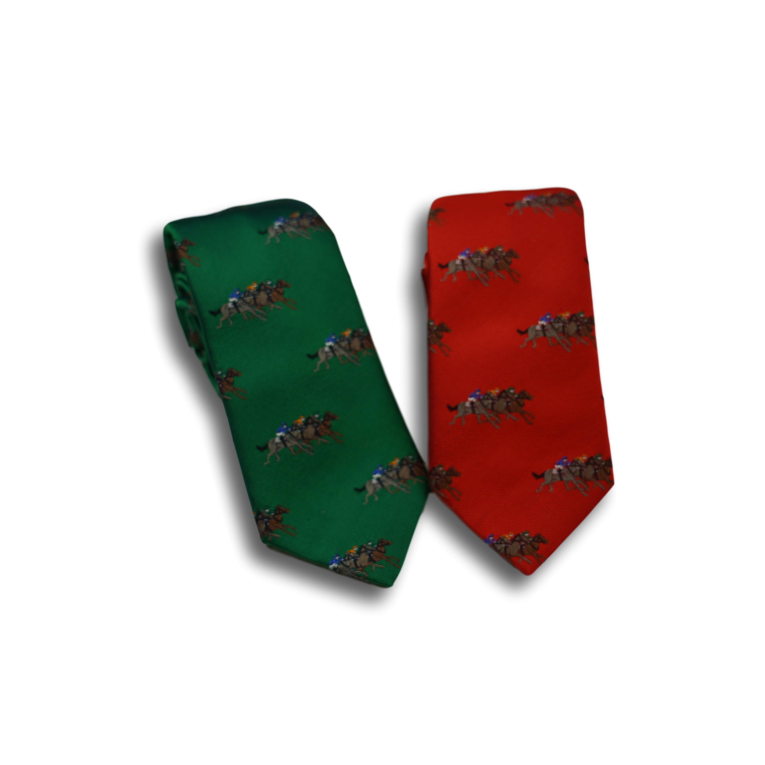 Rust Silk Tie with Racing Horses