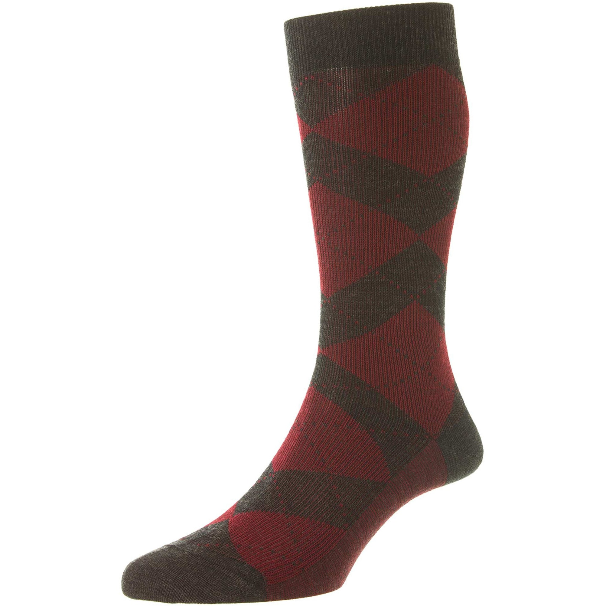 Abdale Argyle Rib Merino Wool Dress Socks
