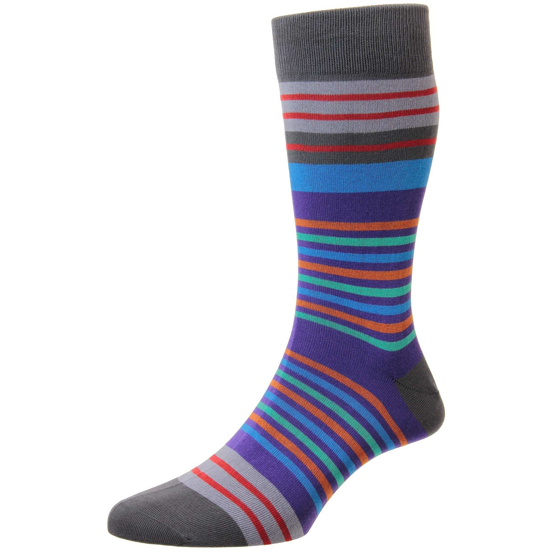 Sea Island Cotton Swift Striped Mid-Calf Dress Sock