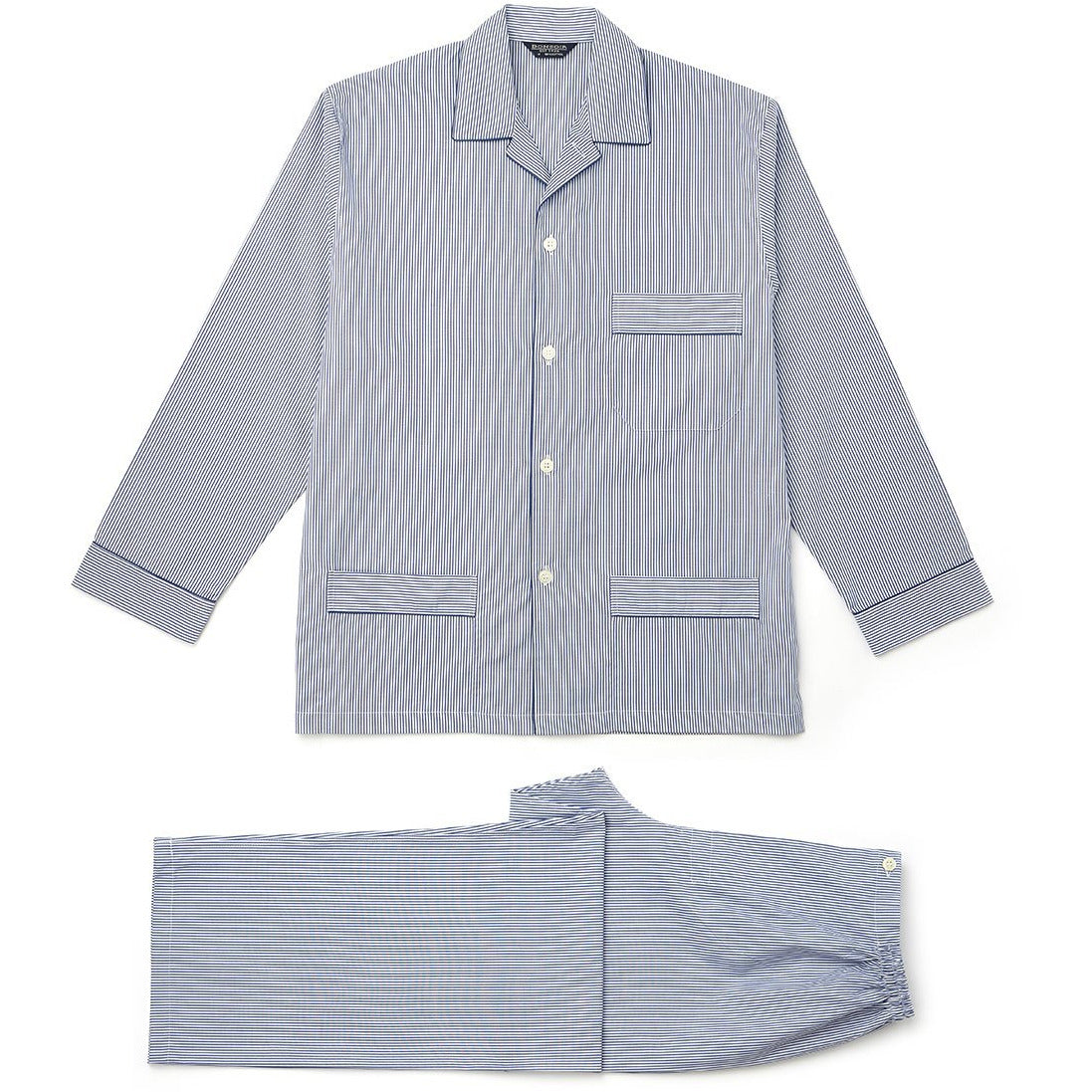 Blue and White Stripe Flannel European Pyjamas