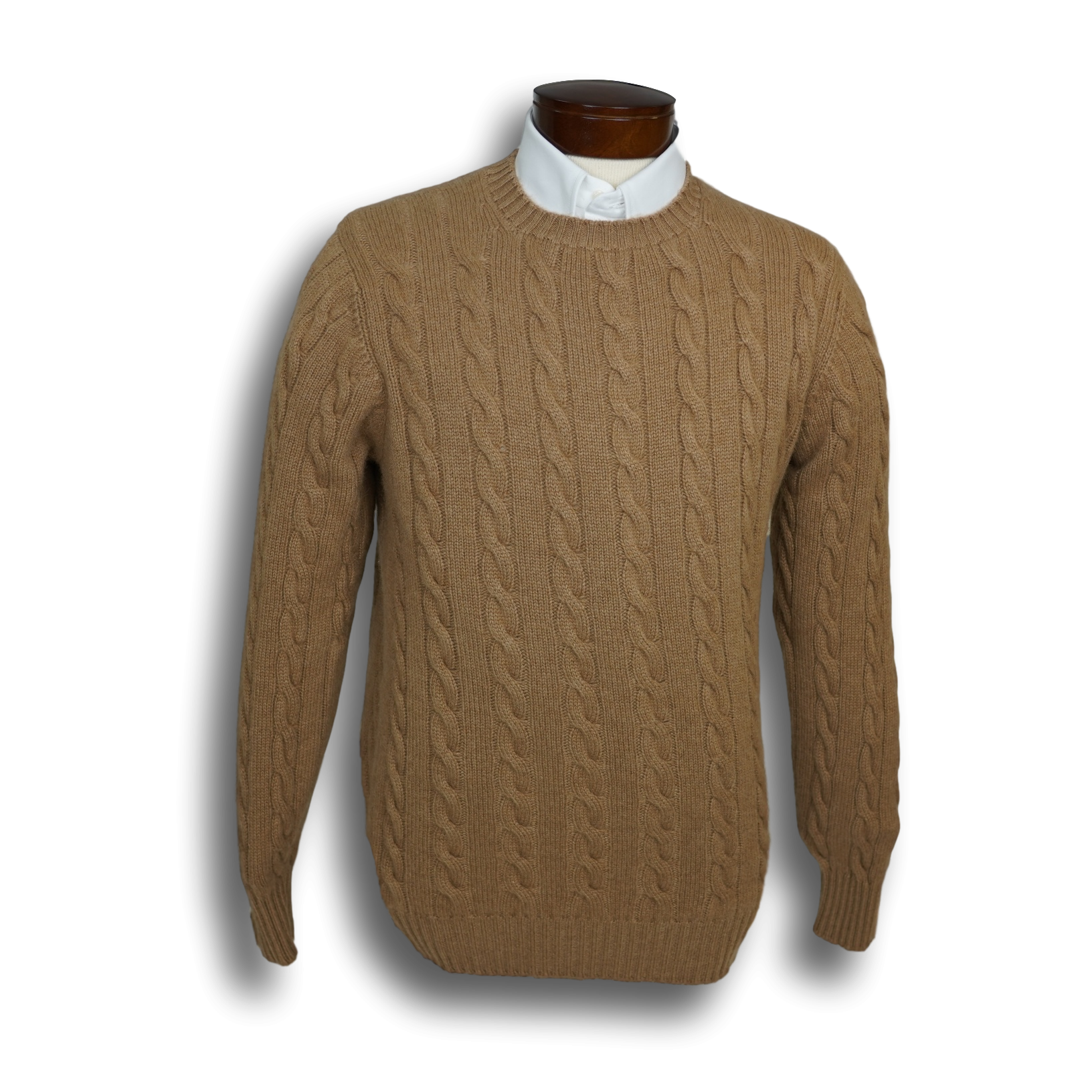 Camelhair Crewneck Cable Sweater