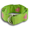 Lime Green with Pink Bees Ribbon Belt