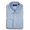 Blue Prince of Wales Spread Collar Dress Shirt