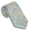 Pale Yellow Silk Paisley Patterned Tie