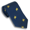 Navy Silk Tie with Gold Turtles