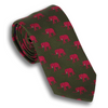 Green Silk Tie with Fuchsia Elephants