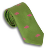 Grass Green Silk Tie with Fuchsia Turtles