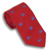 Red Silk Tie with Blue Crabs