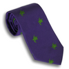 Purple Silk Tie with Green Turtles