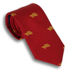 Red Silk Tie with Gold Turtles