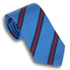 Sky Blue with Navy and Red Mogador Stripe Silk and Cotton Tie