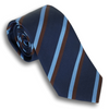 Navy and Brown/Light Blue Striped Silk Tie