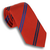 Chili Red  with Blue and Navy Alternating Double Striped Tie
