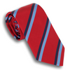 Red with Light Blue/Navy Striped Silk Tie