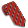 Burnt Red with Orange/Brown/Light Blue Striped Silk Tie