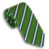 Green and Navy/White Mogador Stripe Silk and Cotton Tie