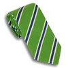 Green and White/Navy Mogador Stripe Silk and Cotton Tie