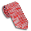 Red Silk Tie with Silver Ring Pattern