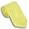 Yellow with Curelean Blue Circle Silk Tie