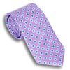 Lavender Silk Tie with Multicolored Hexagons