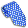 Mid-Blue Silk Tie with Multicolored Hexagons