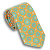 Orange with Teal and Light Green Patterned Motif Silk Tie