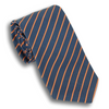 Navy with Orange Striped Poplin Tie