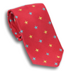 Red with Blue and Gold Stars Silk Tie