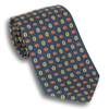 Navy with Red and Yellow Mini Paisley Patterned Silk Tie