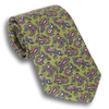 Olive with Multicolored Paisley Patterned Silk Tie