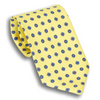 Yellow with Shades of Blue Motif Patterned Silk Tie
