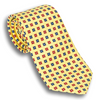Yellow with Red and Blue Flower Motif Silk Tie