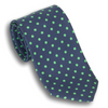 Navy with Green Polka Dots Silk Tie