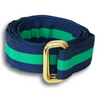 Navy with Wide Green Stripe Ribbon Belt