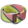 Lime Green and Light Pink with Black Link Diagonal Stripe Ribbon Belt