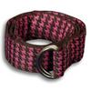 Brown and Pink Large Hounds Tooth Ribbon Belt