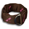 Brown with Pink Dragonflies Ribbon Belt