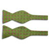 Light Forrest Green with Pink Polka Dots Silk Butterfly Bow Tie