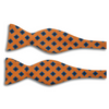Dark Orange with Blue and Navy Square Pattern Wool Butterfly Bow Tie