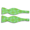 Bright Green with Multi-sized Paisley Motif Silk Butterfly Bow Tie