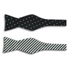 Black and Silver Polka Dots and Striped Silk Butterfly Bow Tie