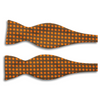 Brown and Orange Square Pattern Silk Butterfly Bow Tie