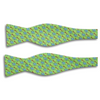 Lime Green with Monkey and Wrench Motif Silk Butterfly Bow Tie