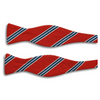 Red with White, Navy, and Caroline Blue Stripe Silk Bow Tie