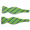 Lime Green with Blue Stripes Silk Bow Tie