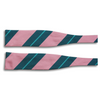 Soft Pink with Forrest Green, Teal, and White Stripe Silk Bow Tie
