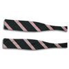 Black with Pink and Silver Stripes Silk Bat Wing Bow Tie