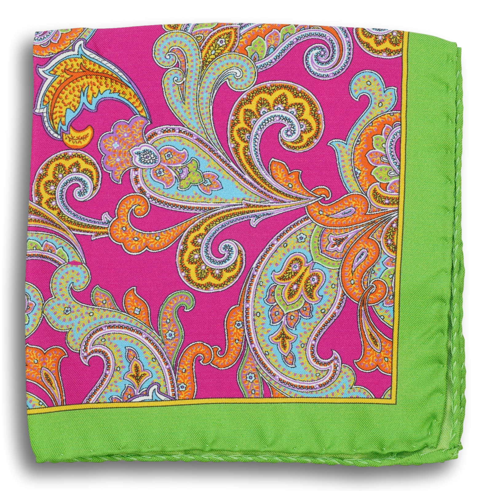 Multicolored Paisley Patterned Silk Pocket Square