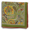 Olive and Multicolored Paisley Patterned Pocket Square